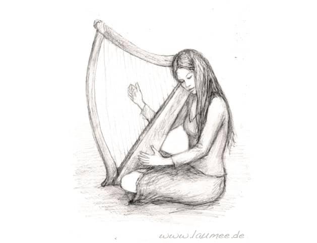 Irische Harfe, Zeichnung von Laumee