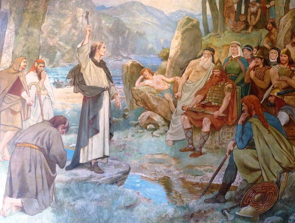 Columban von Iona beim Missionieren