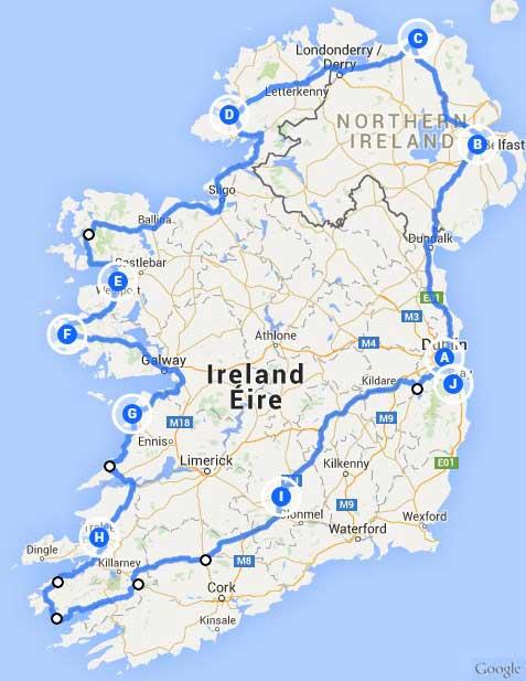 irland rundreise karte Irland Rundreisen mit dem Auto | gruene Insel.de   Die Irland Experten